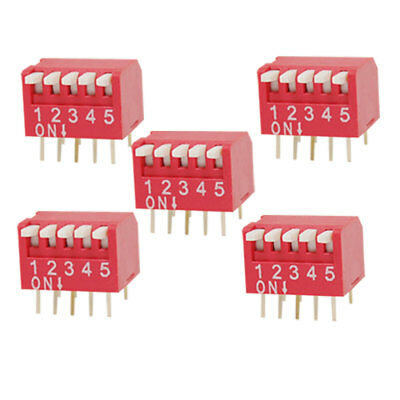 5 Pcs 2.54mm Pitch 5 Position Slide Type DIP Switch Red Ygonq