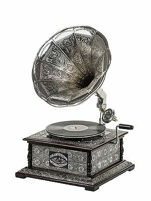 Antique style gramophone complete with horn - decorative wooden base