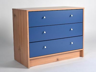 Blue White Chest Of Drawers Three 3 Drawers Storage Wooden Bedroom Furniture