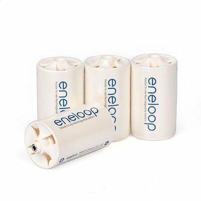 4pcs/lot Sanyo Eneloop Battery Adaptor Converter Case AA Size to D Type Battery