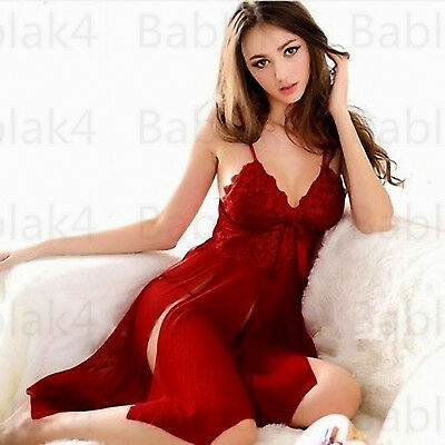 Ladies Lingerie Nightwear Underwear G-String Lace Dress Sleepwear Babydoll Women