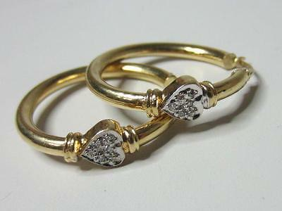 "Elegant 14K Solid Yellow Gold Diamond Set Heart Hoop Earrings 1 &1/8"" Hoops"