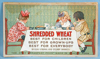 1909 Shredded Wheat Breakfast Cereal Original Advertising Flyer Color Promo