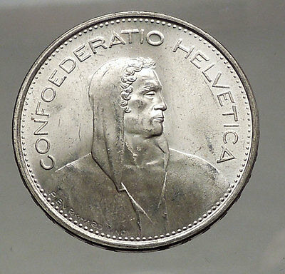 1966 Switzerland Founding HERO WILLIAM TELL 5 Francs European Silver Coin i56747