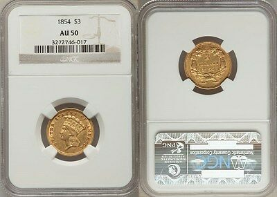 1854 RARE $3 Gold Coin - NGC Graded AU 50 - Almost Uncirculated - Stuart Katz