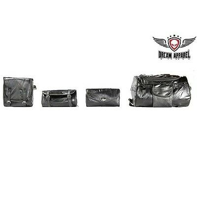 Motorcycle SISSY WINDSHIELD TOOL TRAVEL LUGGAGE BAGS 4 PC For Harley Davidson