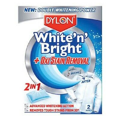 Dylon 2 in 1 Ultra White 'n' Bright with Oxi Stain Removal 2 Satchets