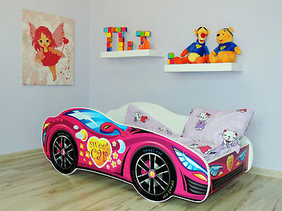 Racing Car Bed PINK, Childrens Bed with mattress (140x70cm) for Girls + Pillow