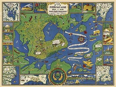 Map of Portland Maine 1928 Vintage Style Illustrative Map - 24x32