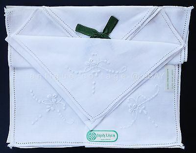vintage antique 3pc IRISH LINEN HAND EMBROIDERED HANKIES w TAG RIBBON floral #1