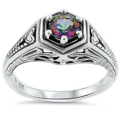 Mystic Quartz Hydro Antique Deco Design 925 Sterling Silver Ring Size 5.75, #166