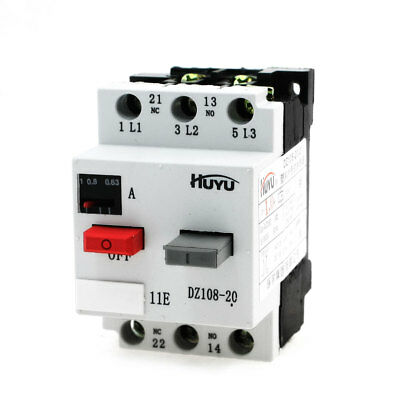 3 Phase ON/OFF Button NO+NC Motor Circuit Breaker 1A 6kV DZ108-20