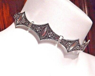 TIBETAN SILVER METAL COLLAR bohemian choker necklace tribal statement ornate N1