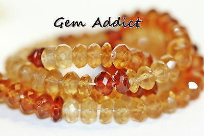 "Natural Faceted Rondelle Shaded Hessonite Garnets 5mm 15"" Strand 18g/90cts"
