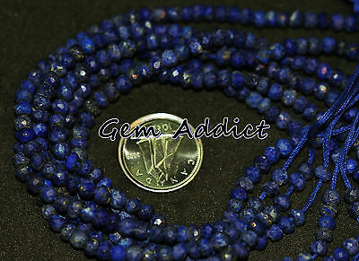 """Faceted Blue Lapis Lazuli 4mm Rondelle Beads 6.5"""" Strand 5g/25cts average"""