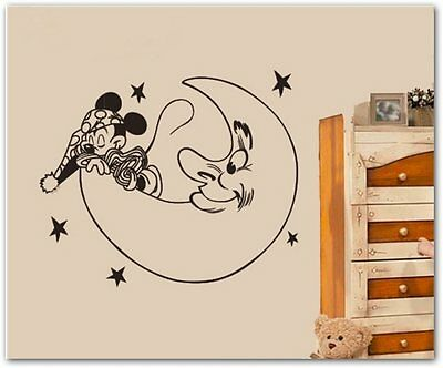 vinilo  Mickey sleeping on the moon sticker infantil 56 x 70 cm