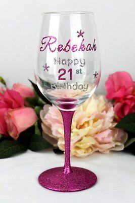 21st Birthday Wine Glass - Personalised - Add a Name & Message