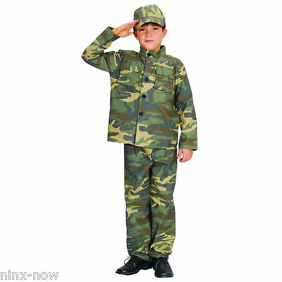 Army Soldier Camouflage Boys Costume Fancy Dress
