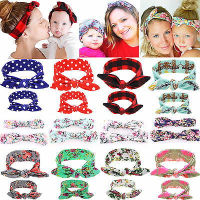 2x Mum Baby Mother Daughter Women Girls Parent Child Bow Knot Headband Hairband
