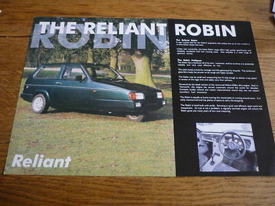 RELIANT ROBIN CAR SALES 'BROCHURE'/SHEET  MID 90's