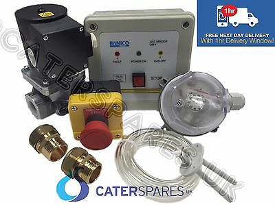 "1"" COMMERCIAL GAS INTERLOCK SYSTEM KIT & GAS SOLENOID VALVE 28mm ADAPTORS INC"