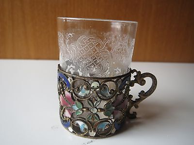 "MINI 2"" ANTIQUE FRENCH CHAMPLEVE CLOISONNE HOLDER metal enamel w/ SHOT GLASS"