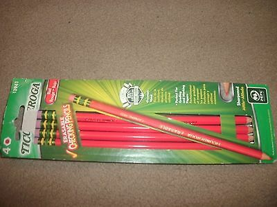 Ticonderoga Erasable Checking Pencils, Eraser Tipped, Pre-Sharpened, 4/Pack, Red