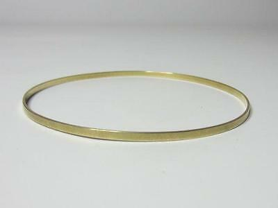 Vintage 14K Solid Yellow Gold Plain Round Stackable Bangle Bracelet 2mm Wide