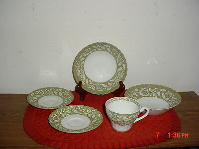 """5-Piece J&g Meakin """"lucerne"""" 1-Coffee Cup/2-Bowls/2-Saucers/white-Grn/clearance!"""