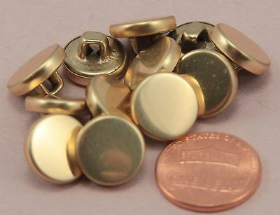 """144 pcs 1 Gross Small Shiny Polished Brass Tone Metal Buttons 1/2"""" 13MM # 6331"""