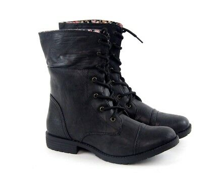 Women Ladies Military Combat Boots Mid Calf Lace Up Floral Red FREE SHIPPING