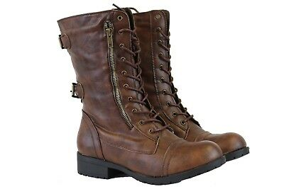 Women Mid Lace Up Boot Ankle High Cowboy Combat Fashion Military Boots Brown