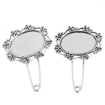 5pcs Antique Silver Safety Lace Oval Pins Brooch Findings Charms Jewellery New J