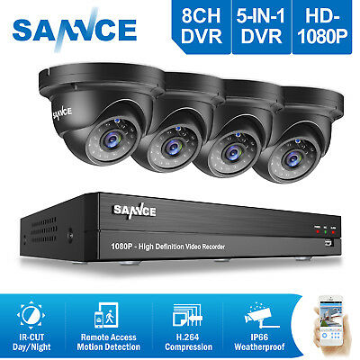 SANNCE 2MP Video 1080P 8CH AHD DVR 4x Outdoor Dome CCTV Security Camera System