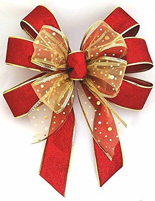 Red and Gold Glitter Large Tree Topper Garland Christmas Bow Decoration