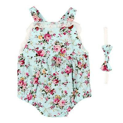Infant Baby Kid Girls Floral Strap Rompers Jumpsuit Bodysuit+Headband Outfit Set