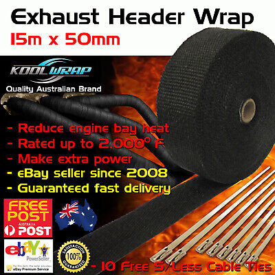 HEADER EXHAUST WRAP TAPE 2000 F Heat Protection Black 15m x 50mm + 10 Steel Ties