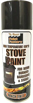High Temperature Spray Heat Resistant Mat Black Paint up to 600 Degrees - 400ml