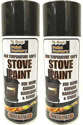 2x High Temperature Spray Heat Resistant Mat Black Paint up to 600 Degrees-400ml