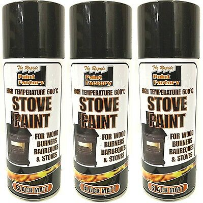 3x High Temperature Spray Heat Resistant Mat Black Paint up to 600 Degrees-400ml