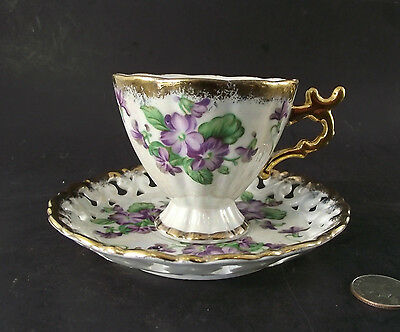 Gold Floral Footed  Shafford Tea Cup N Saucer W Open Work Japan Hand Decorated