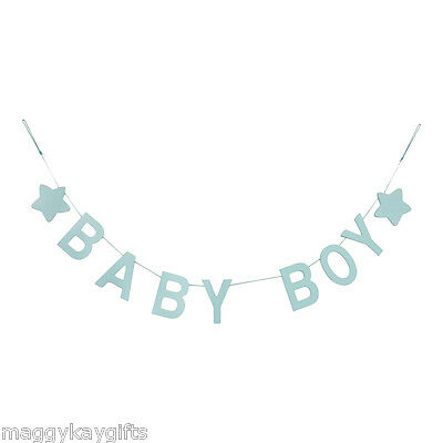 Baby Boy Girl Wooden Garland Pink Blue Gisela Graham 100 cm Bunting Nursery