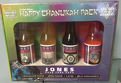Jones Soda Co. 2007 Limited Edition Happy Chanukah  4 Pack Soda New Unopened