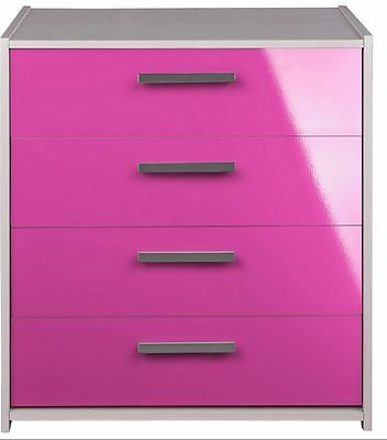 Pink Gloss Chest Of Drawers White 4 Drawers Storage Wooden Bedroom Furniture