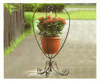Hampton Bay Iron Hanging Plant Stand for Porch Patio Deck Heart Shaped with Bird