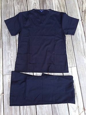 Blue Brand Scrubs Set Top Pants Multiple Sizes Black NWOT