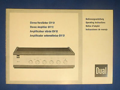 Dual Cv12 Integrated Amplifier  Owners Manual Original Factory Issue