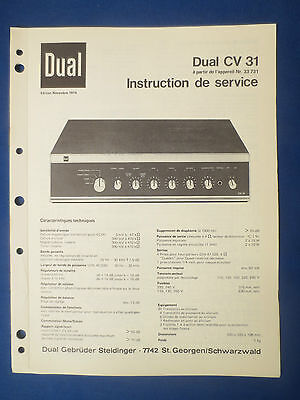 Dual Cv31 Integrated Amplifier Service Manual Original Factory Issue French