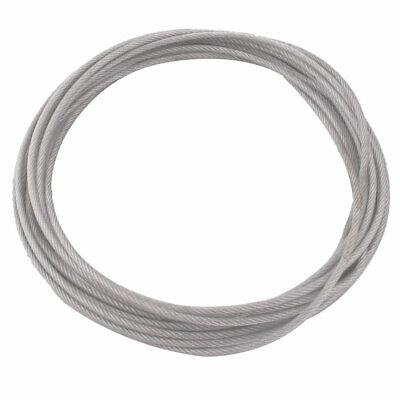 5 Meters Long 3mm Dia Plastic Coated Flexible Steel Wire Cable Rope Silver Tone