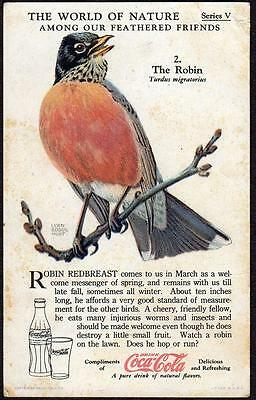 1933 Coca Cola Trade Card*series V*#2*the Robin*the World Of Nature*